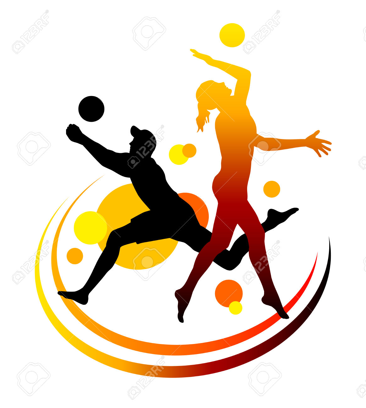 clipart of volleyball. volleyball with fun text stylized vector.