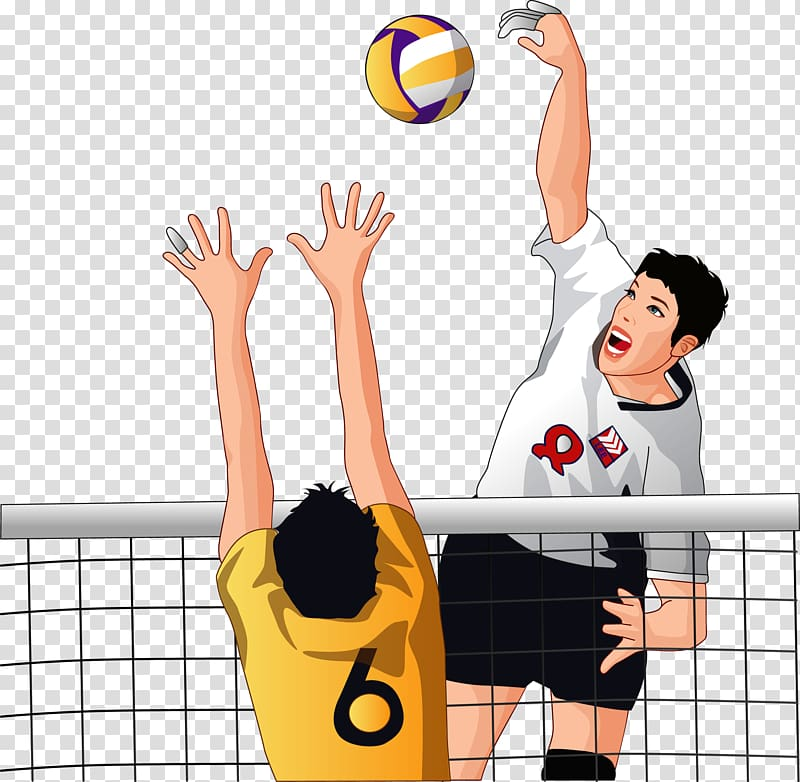Volleyball player wearing white 8 jersey shirt illustration.