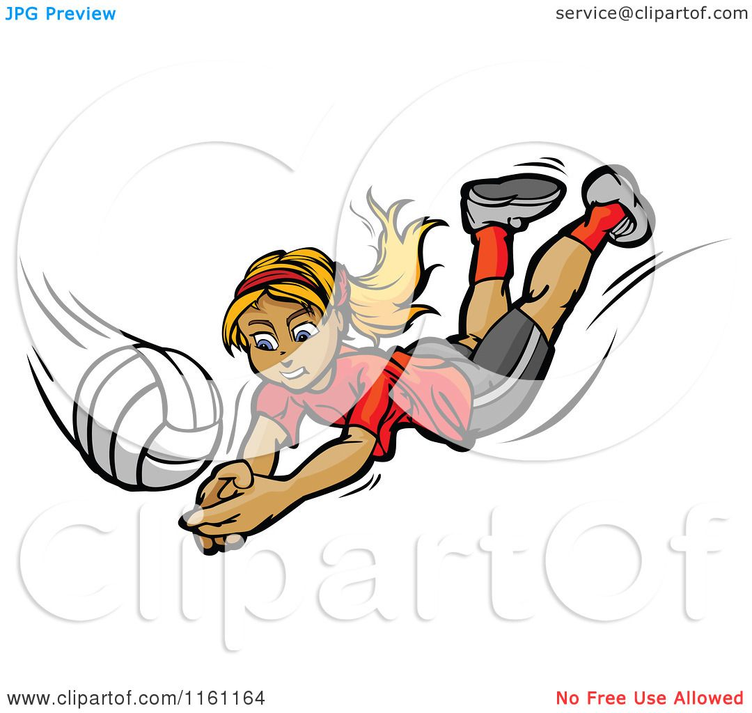 Cartoon of a Blond Girl Diving for a Volleyball.