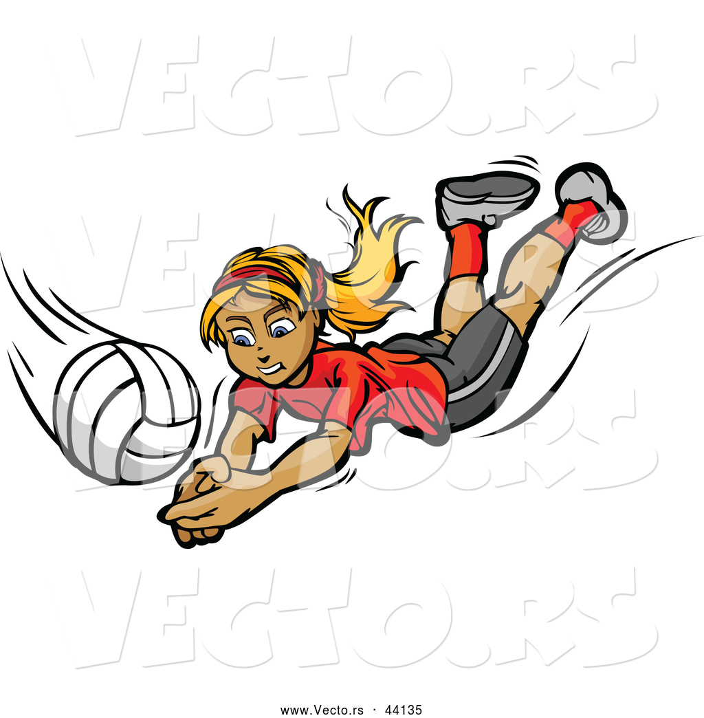 Vector of a Competitive Cartoon Female Volleyball Player Diving.