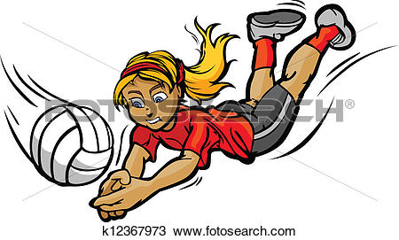 Clipart of Volleyball Girl Diving for Ball Cartoon Vector.