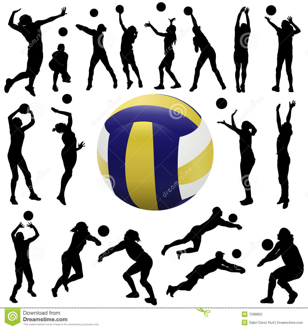 Volleyball dig clipart