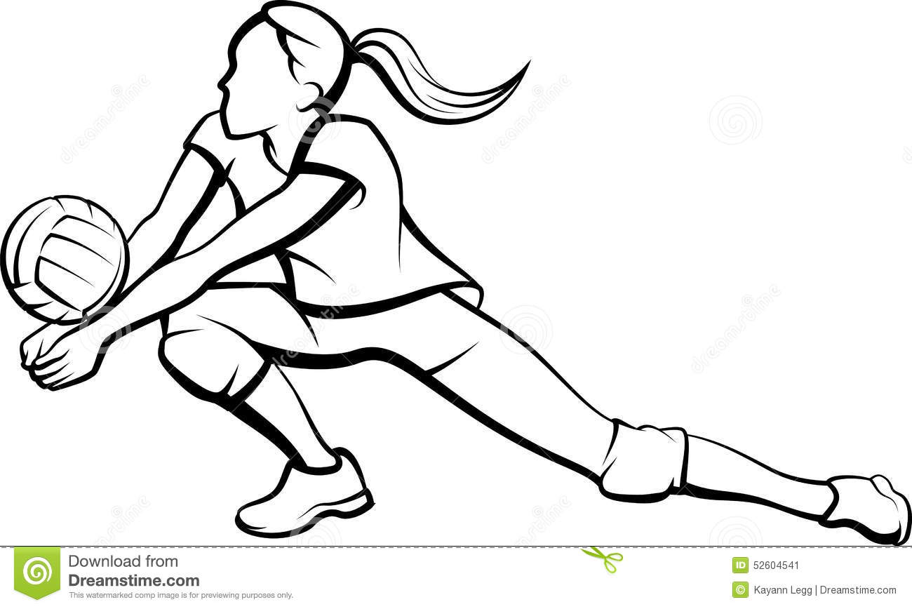 Volleyball Girl Passing Clipart