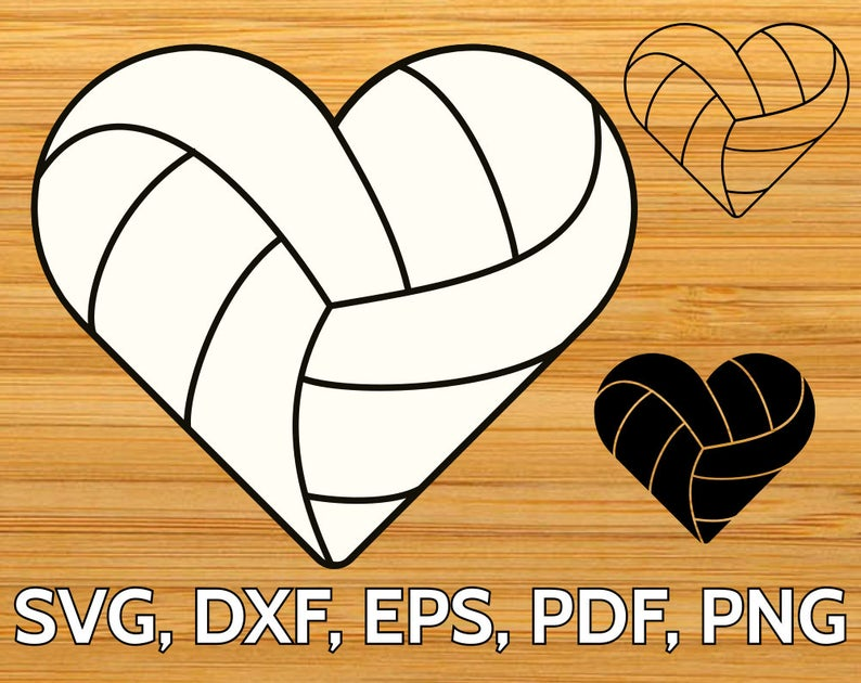 Volleyball Heart SVG designs.