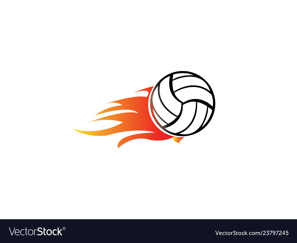 Volleyball with fire and flame for logo design.