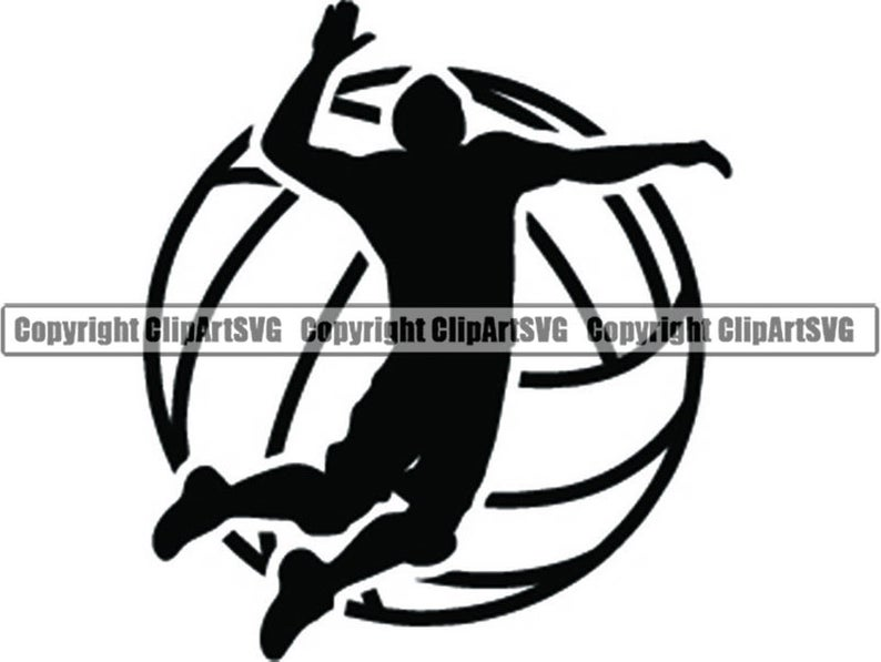 Volleyball Logo #6 Male Mens Boys Ball Player Sport Team Sport Competition  Tournament School Beach Game.SVG .EPS .PNG Vector Cricut Cut File.