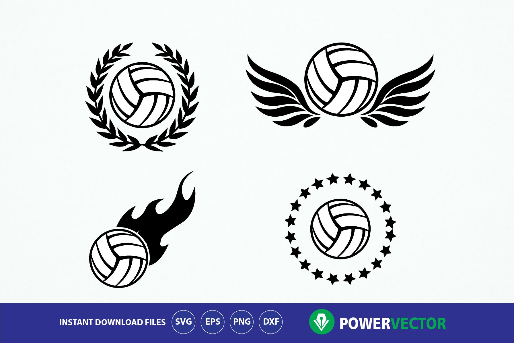 Volleyball Team Logo Emblem Design Svg, Dxf, Eps, Png Files.