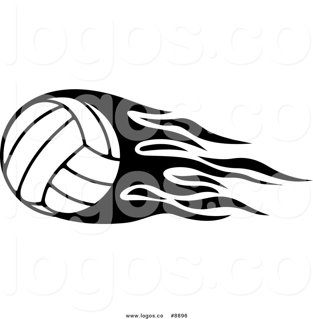 Royalty Free Clip Art Vector Logo of a Black and White Volleyball.