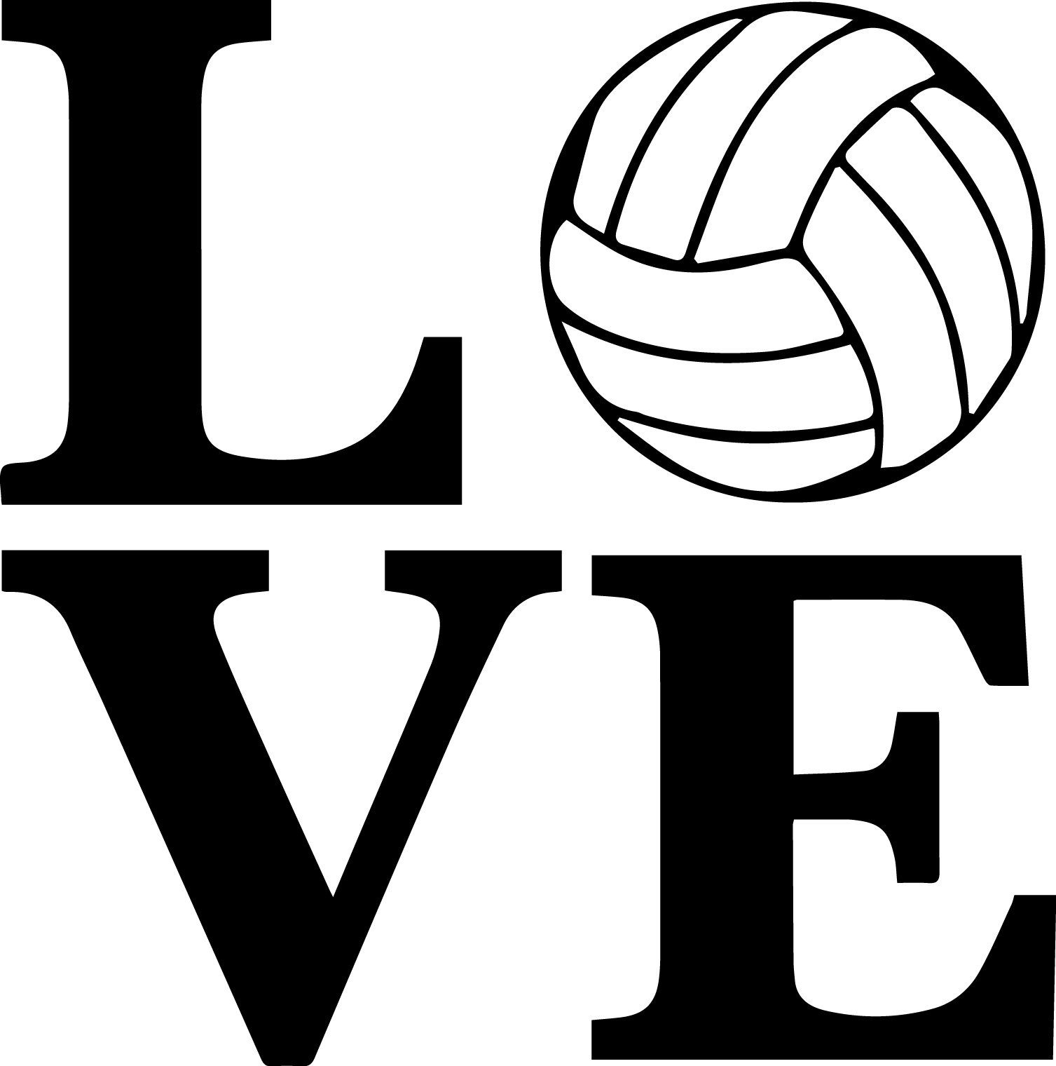 Love Volleyball Vinyl Decal.