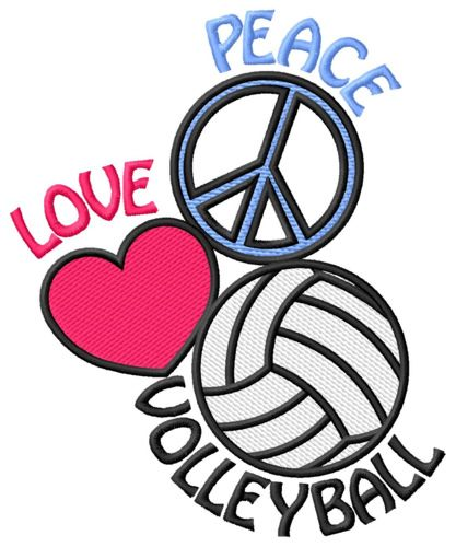 Peace Love Volleyball Embroidery Design.