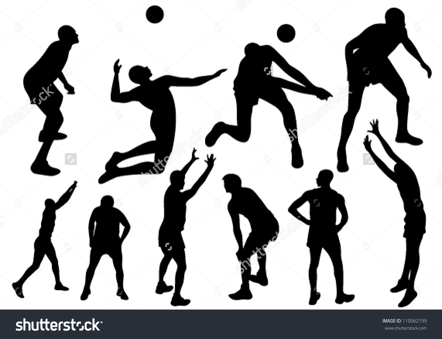 Volleyball Players Fine Vector Silhouettes Black Stock Vector.