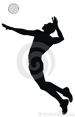 Volleyball Players In Action Clipart.