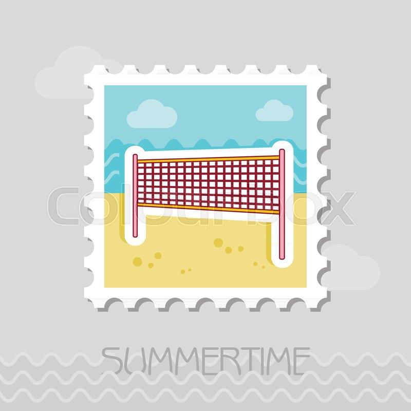 Volleyball net beach sport flat stamp..