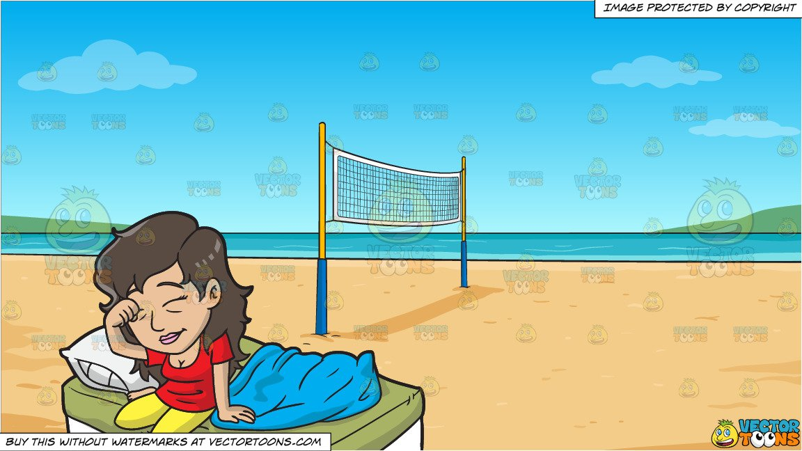 A Sleepy Woman Getting Up From Bed and Beach Volleyball Background.