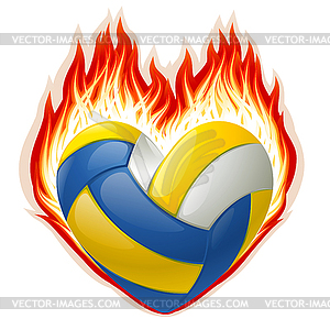 Volleyball in fire in the shape of heart.
