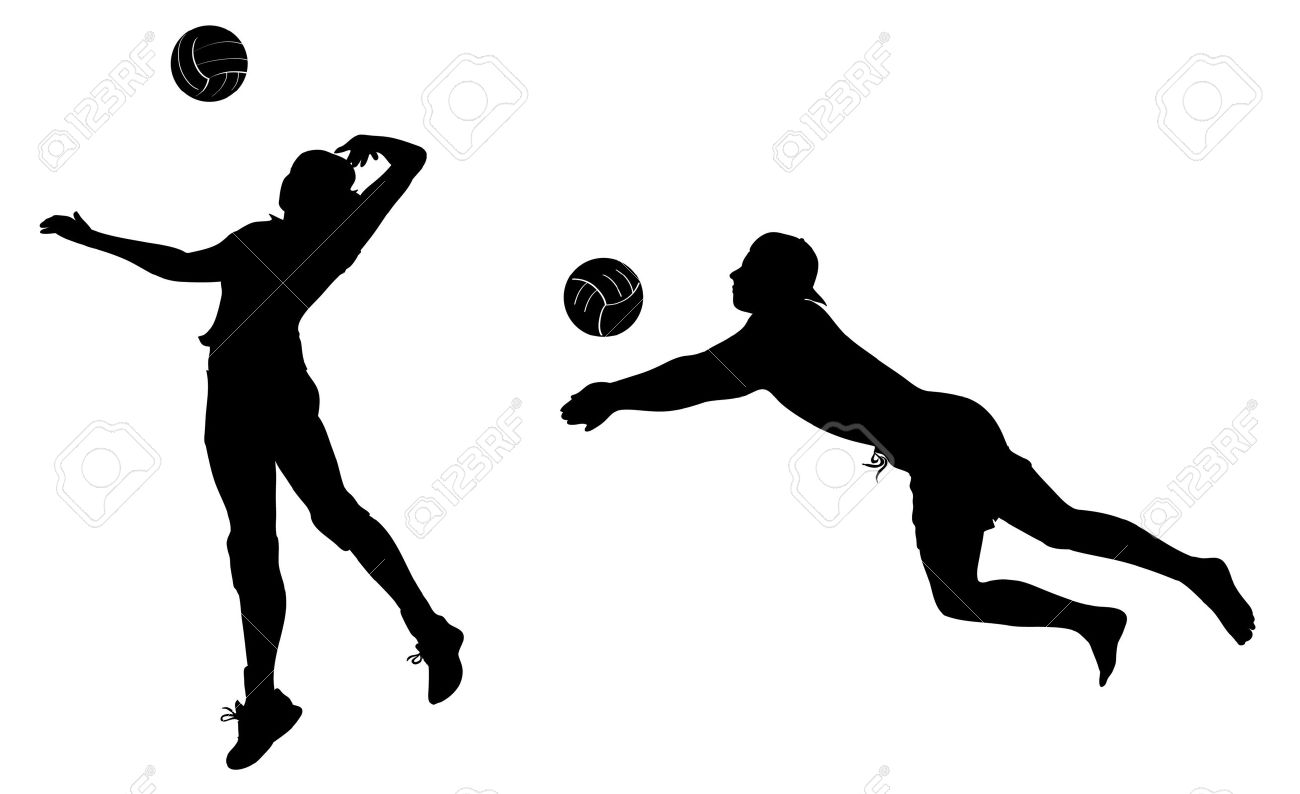 Volleyball players black icons. clip art..