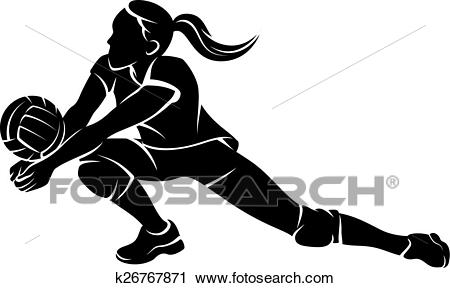 Volleyball Dig Girl Silhouette Clipart.