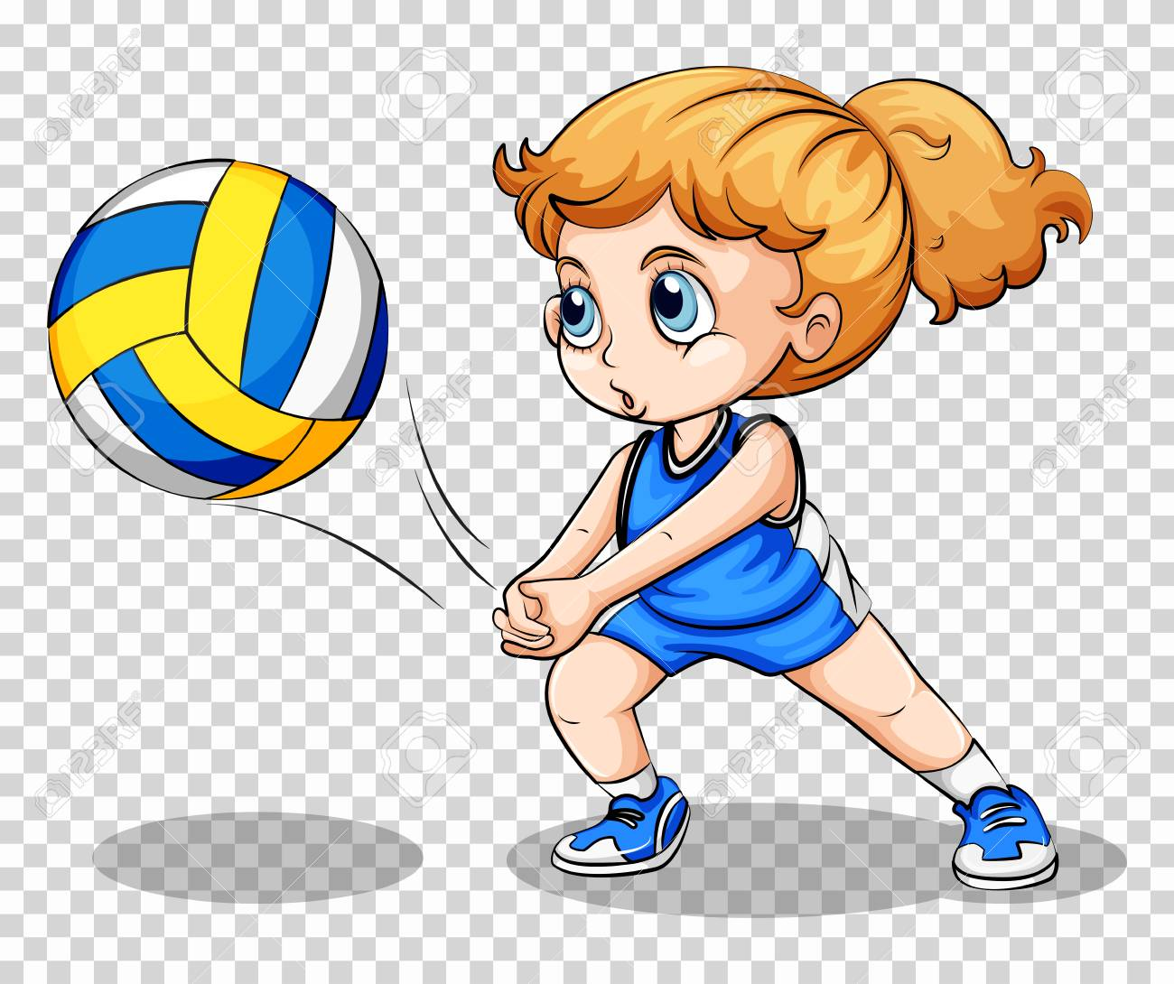 Volleyball player on transparent background illustration.