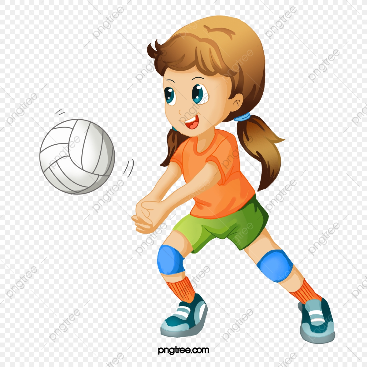 Hand Painted Cartoon Playing Volleyball Players, Cartoon Clipart.