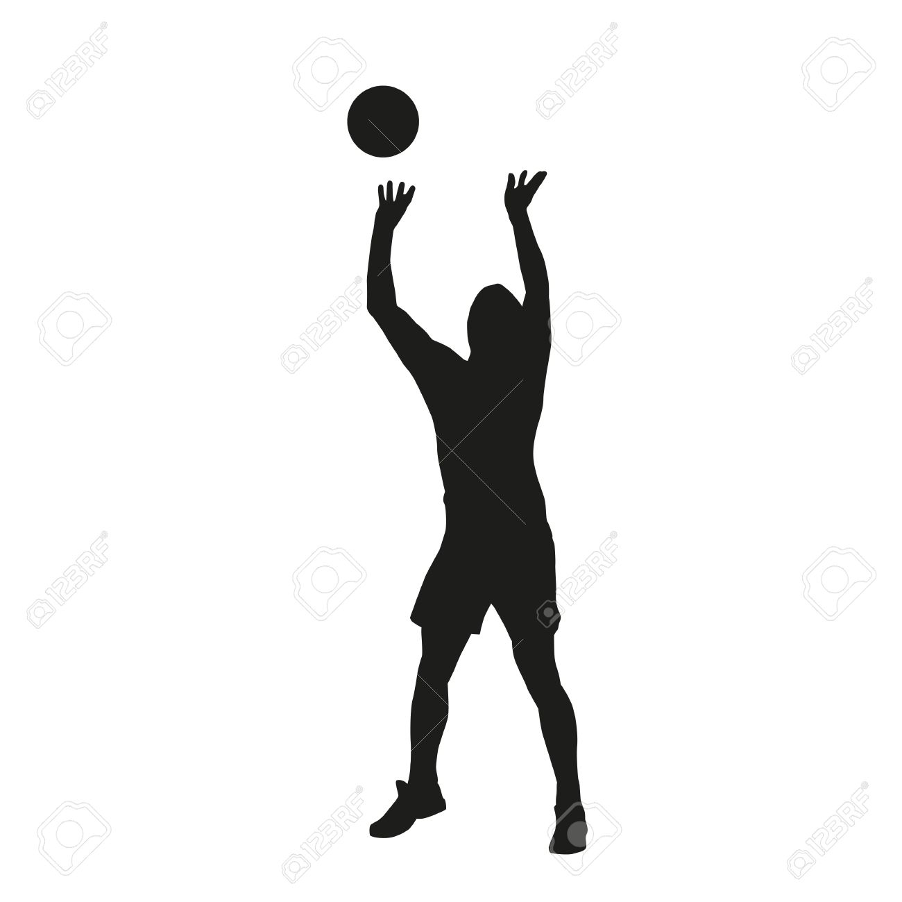 Volleyball player silhouette.