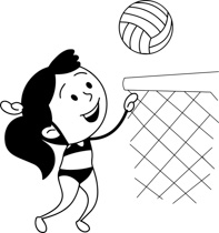 Playing Volleyball Clipart Black And White.