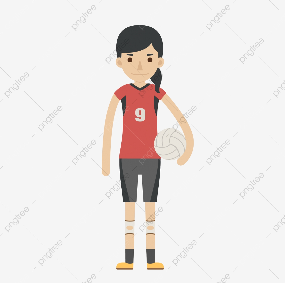 Gorgeous Color Female Volleyball Players Silhouette, Color Clipart.