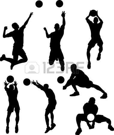 volleyball: Vector Images of Male Volleyball Silhouettes.