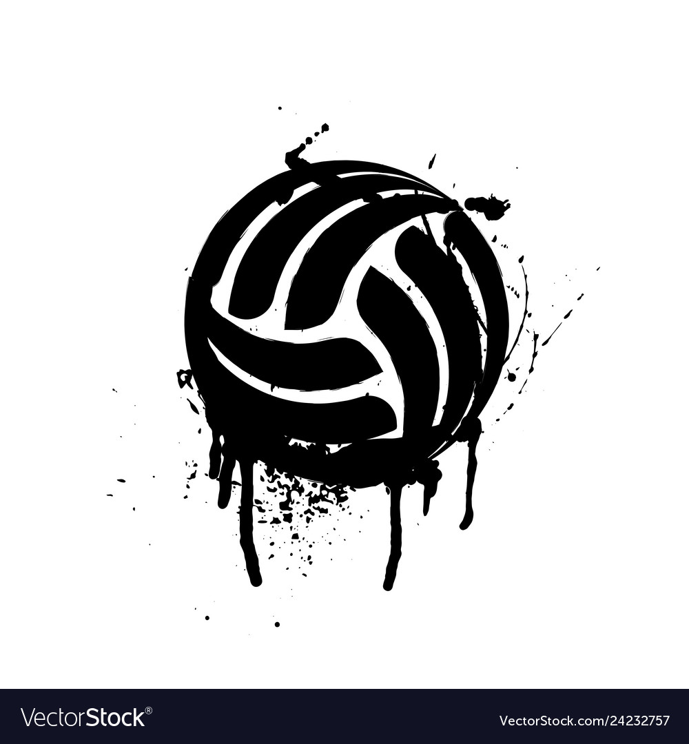 Black grunge volleyball.