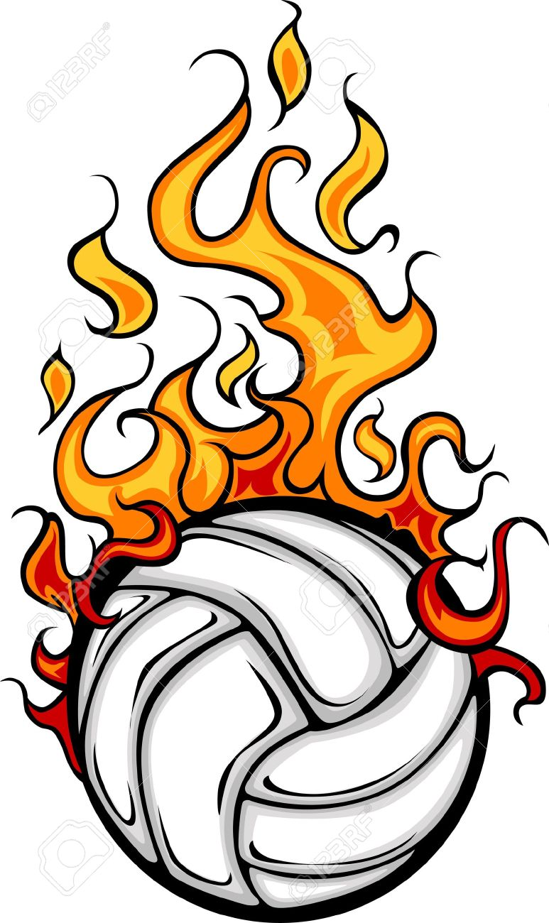 Volleyball Flaming Ball Cartoon.