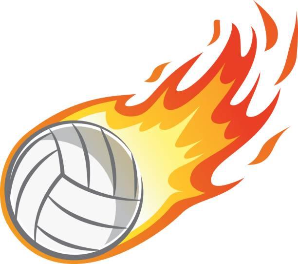 Cartoon Of Volleyball With Flames Illustrations, Royalty.