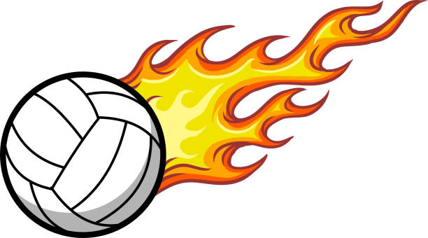 Silhouette Of The Volleyball Flames Illustrations, Royalty.