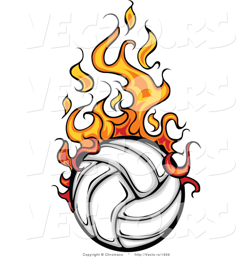 Volleyball with Flames Clipart.