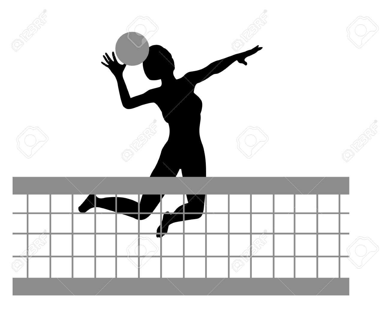 Volleyball Net Silhouette Clipart.