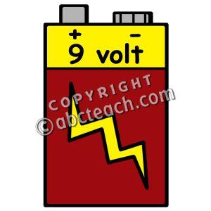 9 volt battery clipart.