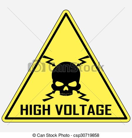Clipart Vector of Danger High Voltage Sign, vector.