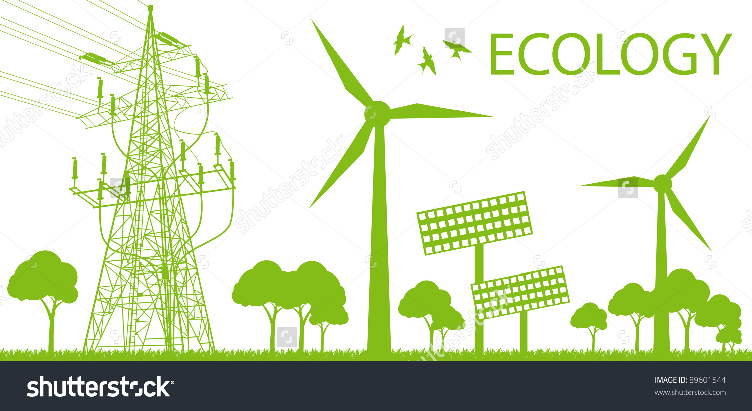 Wind Alternative Energy Generator Green Vector Stock Vector.
