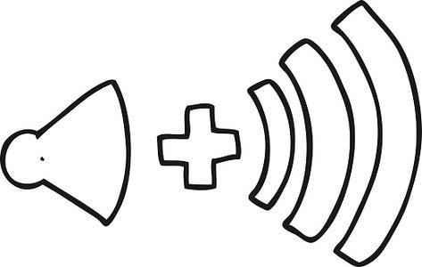 Black and White Cartoon Volume Symbol premium clipart.