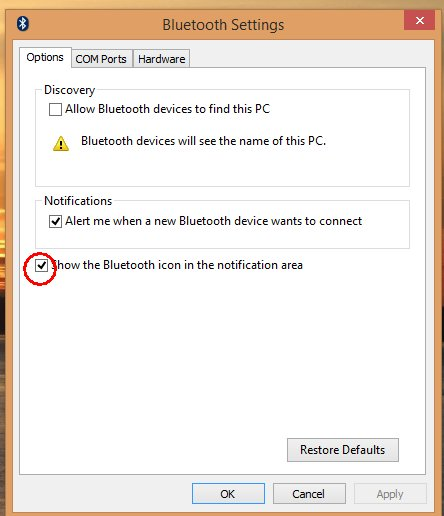Restoring Lost Bluetooth Icon to Your Windows System Tray.
