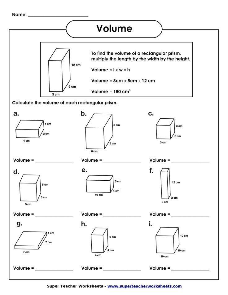 volume of rectangular prism worksheet.