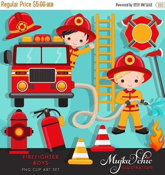 Firefighter Boys Clipart. Cute fireman, fire truck, hose.