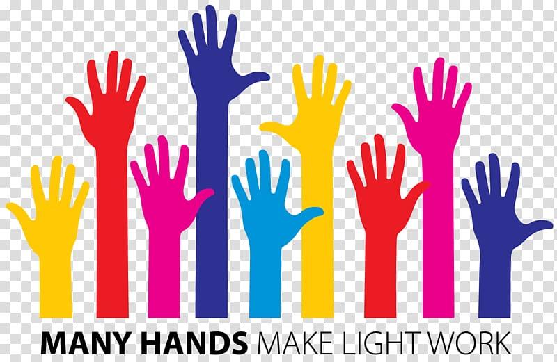 Many hands make light work illustration, Volunteering Community Job.