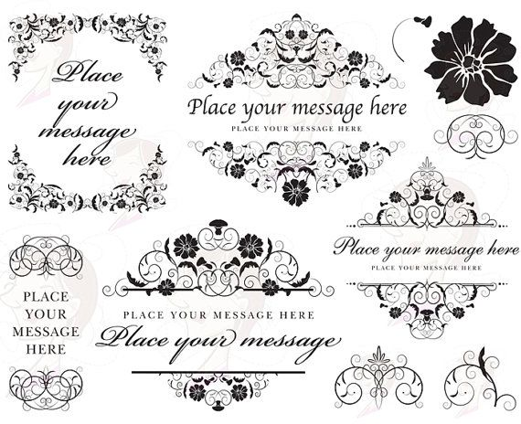 Flourish Digital Frame Swirls Floral Volute COMMERCIAL USE.