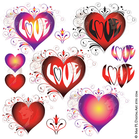 Love Heart Clipart Valentines Mothers Day Flourish Red Rainbow.