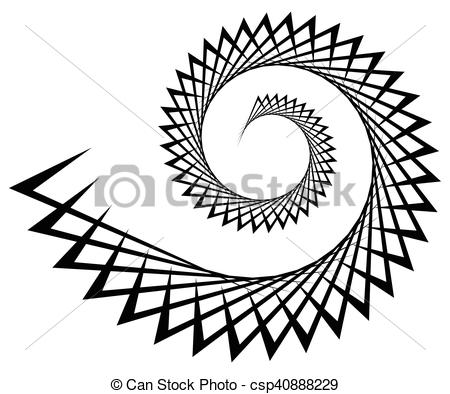 Vector Illustration of Abstract edgy spiral, volute with.