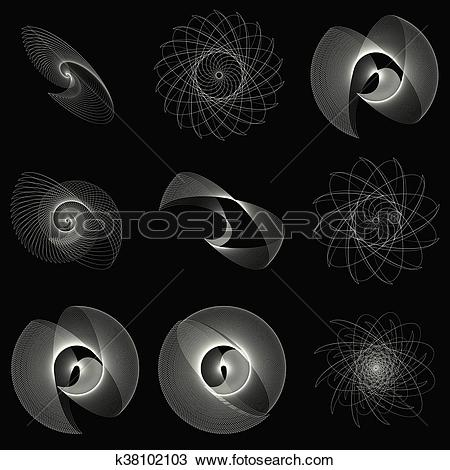 Clipart of Geometric spiral. Volute, helix elements. Abstract.