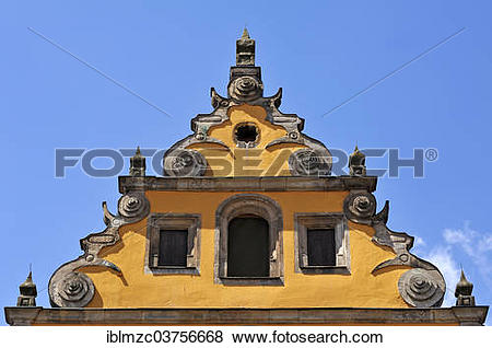 Pictures of Baroque voluted gable, early 17th Century, former.