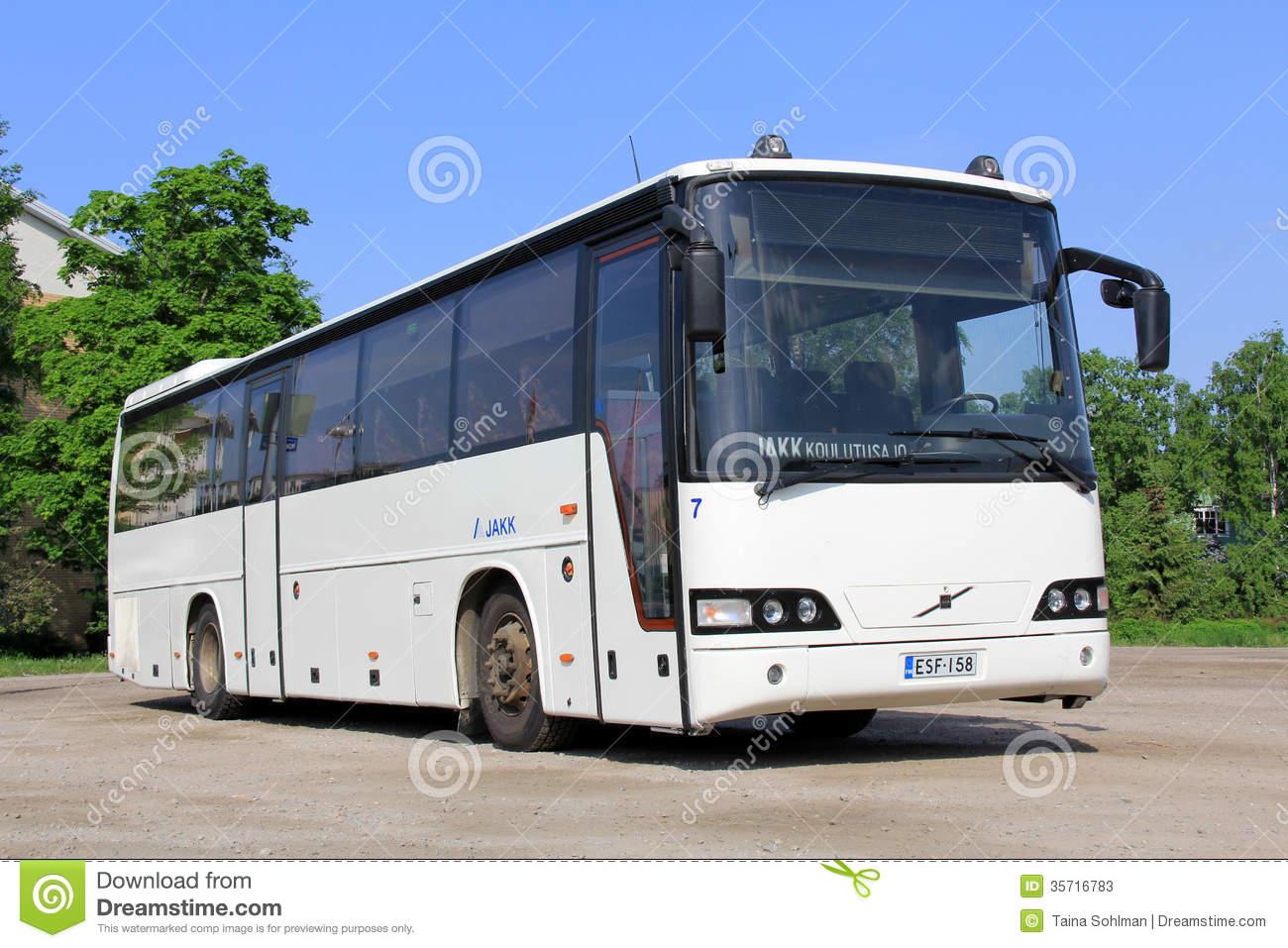 White Modern Volvo Coach Bus Editorial Stock Image.