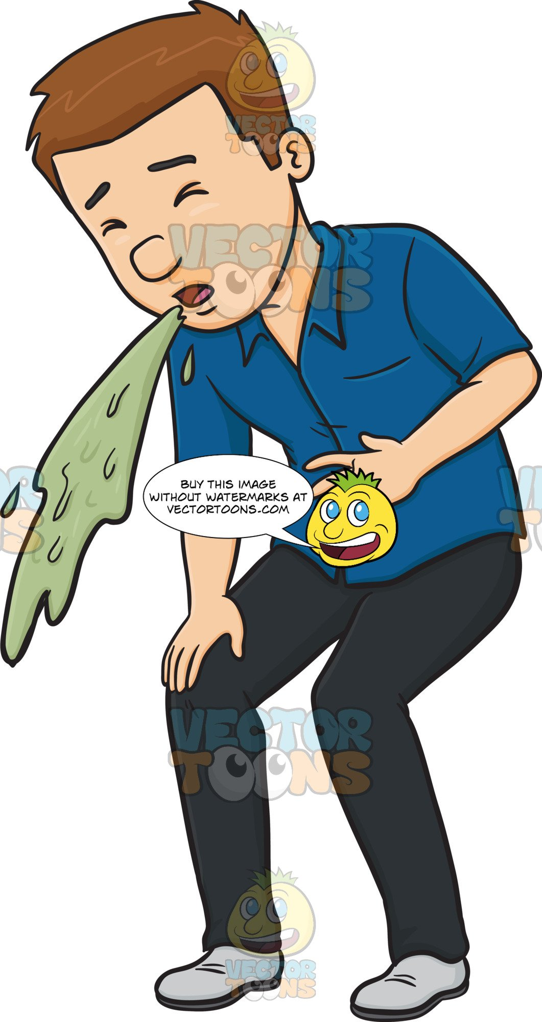 Man In A Blue Shirt Vomiting.