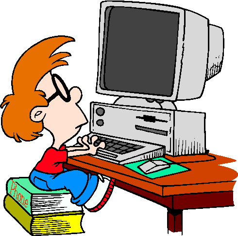 Boy Looking At Computer Clipart.