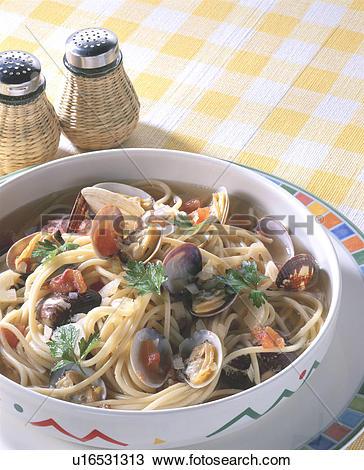 Stock Photo of Vongole Bianco Soup Spaghetti u16531313.